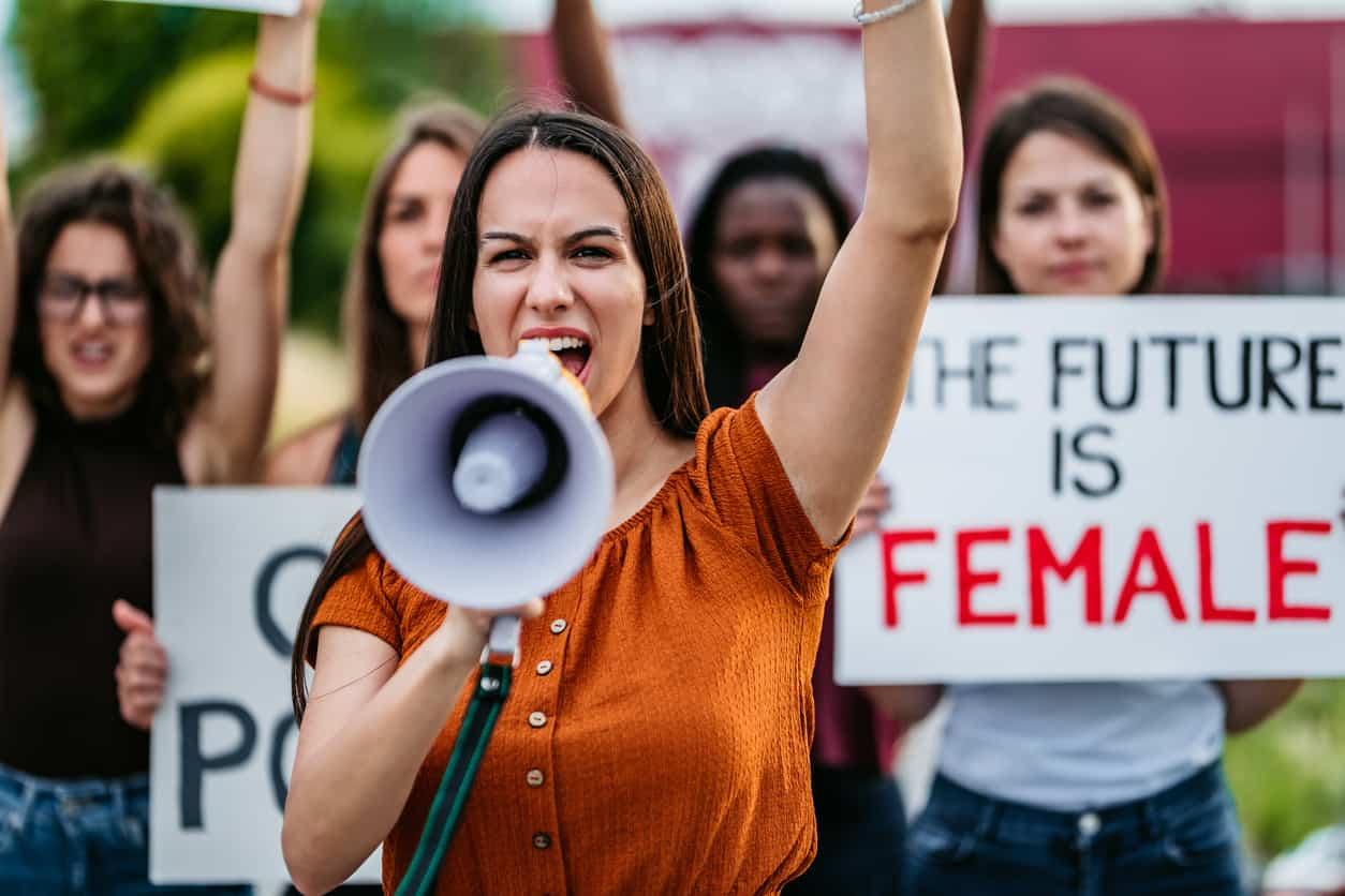 Women protesting for equality and women rights